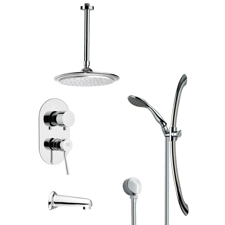 REMER TSR9009 GALIANO MODERN TUB AND RAIN SHOWER FAUCET WITH HAND SHOWER IN CHROME