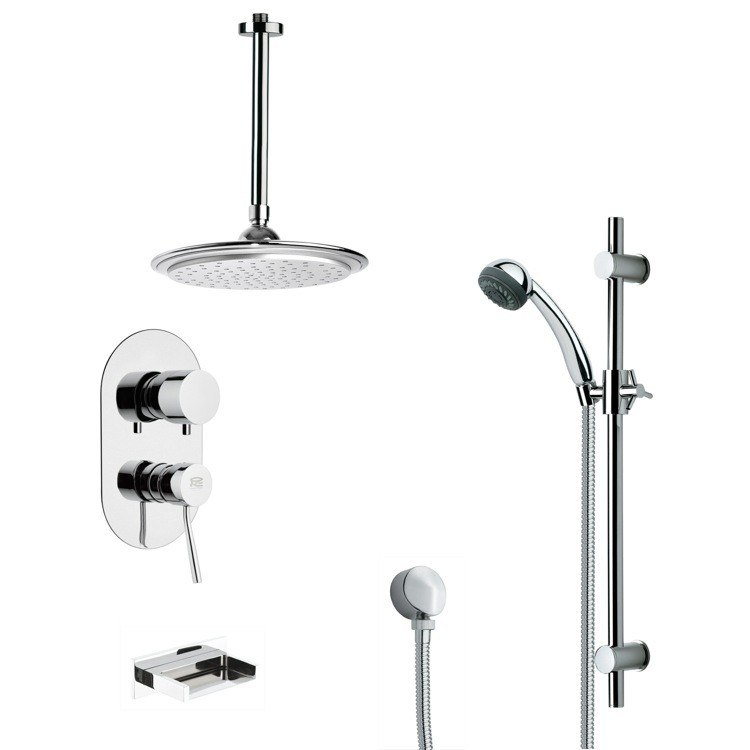 REMER TSR9010 GALIANO MODERN TUB AND RAIN SHOWER FAUCET WITH SLIDE RAIL IN CHROME