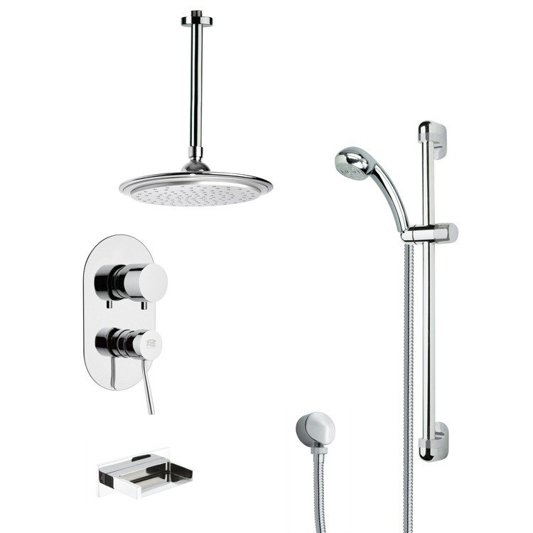 REMER TSR9011 GALIANO MODERN TUB AND RAIN SHOWER FAUCET WITH SLIDE RAIL IN CHROME