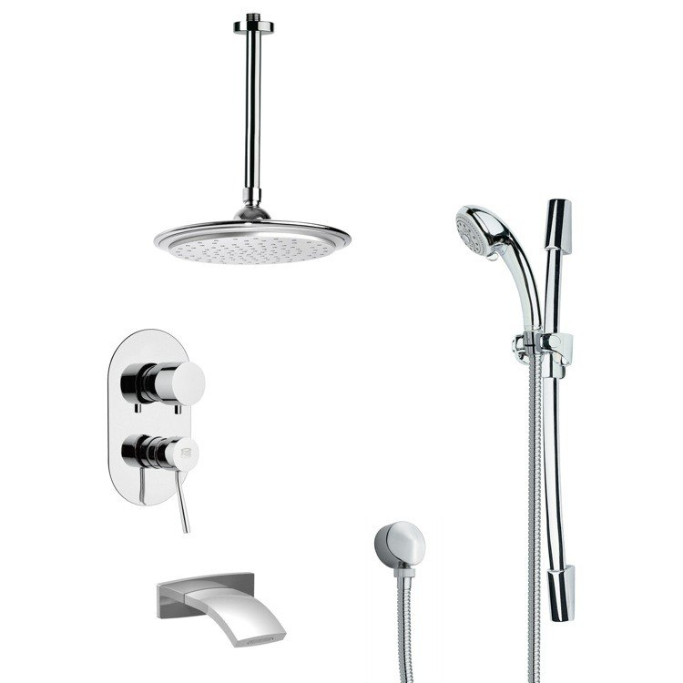 REMER TSR9012 GALIANO MODERN TUB AND RAIN SHOWER FAUCET WITH SLIDE RAIL IN CHROME