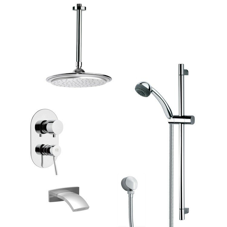 REMER TSR9013 GALIANO MODERN TUB AND RAIN SHOWER FAUCET WITH SLIDE RAIL IN CHROME