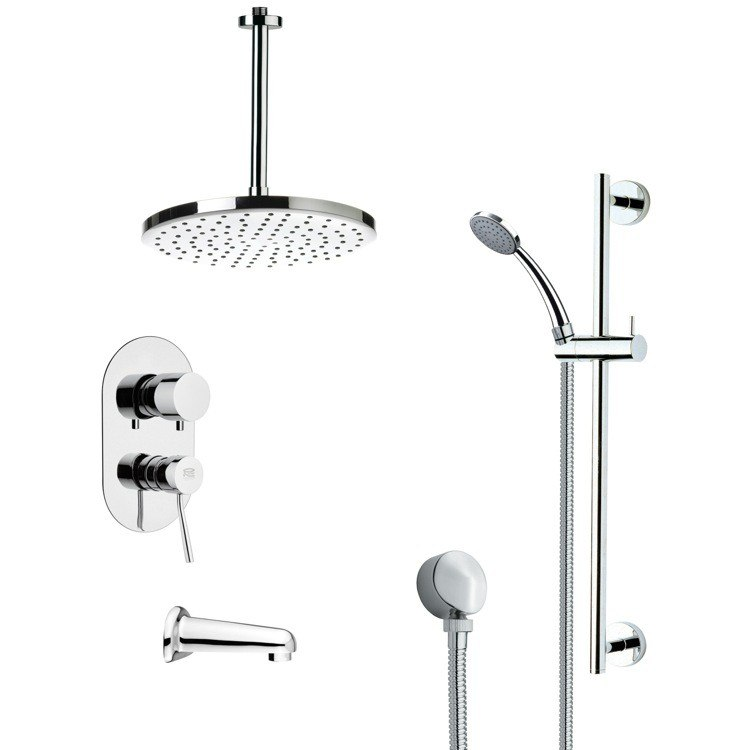 REMER TSR9014 GALIANO MODERN TUB AND RAIN SHOWER FAUCET WITH SLIDE RAIL IN CHROME