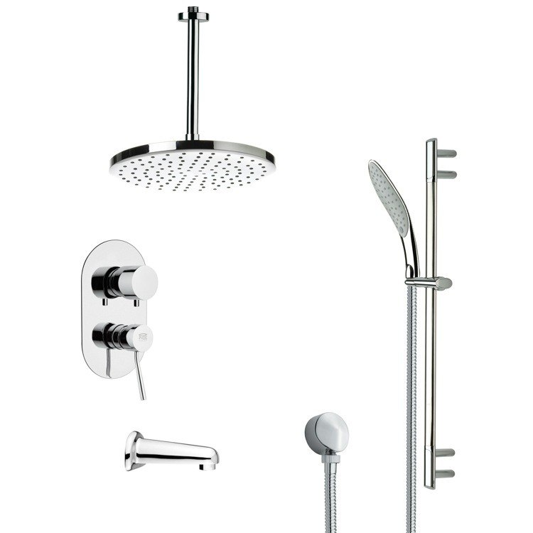 REMER TSR9015 GALIANO MODERN TUB AND RAIN SHOWER FAUCET SET IN CHROME