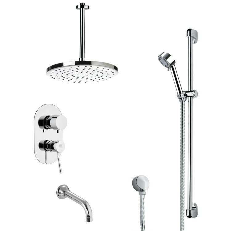 REMER TSR9017 GALIANO MODERN TUB AND RAIN SHOWER FAUCET SET IN CHROME