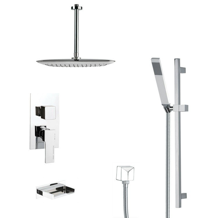REMER TSR9018 GALIANO MODERN SQUARE SHOWER SYSTEM IN CHROME