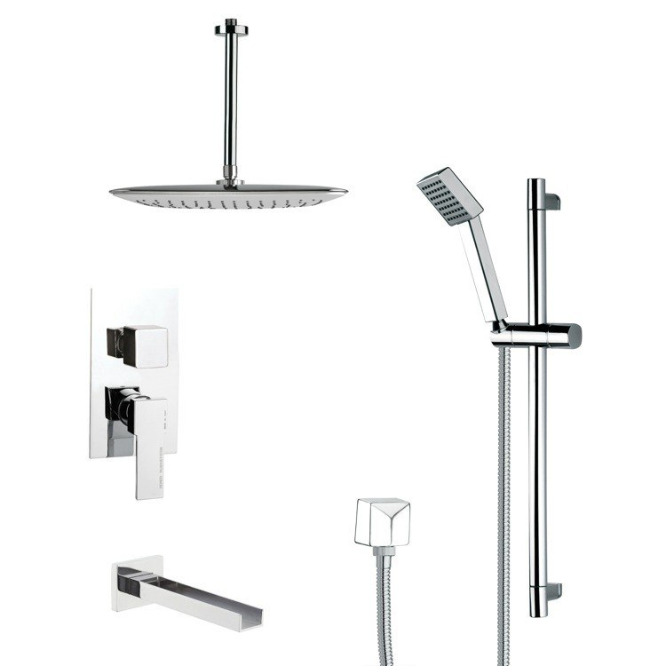 REMER TSR9021 GALIANO MODERN SQUARE SHOWER SYSTEM IN CHROME