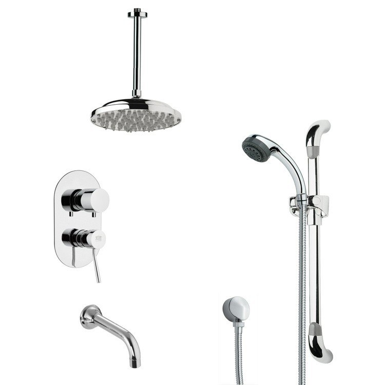 REMER TSR9024 GALIANO MODERN ROUND RAIN SHOWER SYSTEM IN CHROME