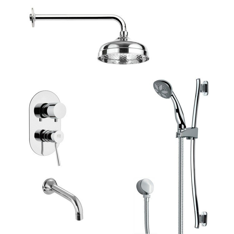 REMER TSR9027 GALIANO MODERN ROUND TUB AND RAIN SHOWER FAUCET SET IN CHROME