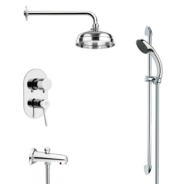 REMER TSR9028 GALIANO MODERN ROUND TUB AND RAIN SHOWER FAUCET SET IN CHROME