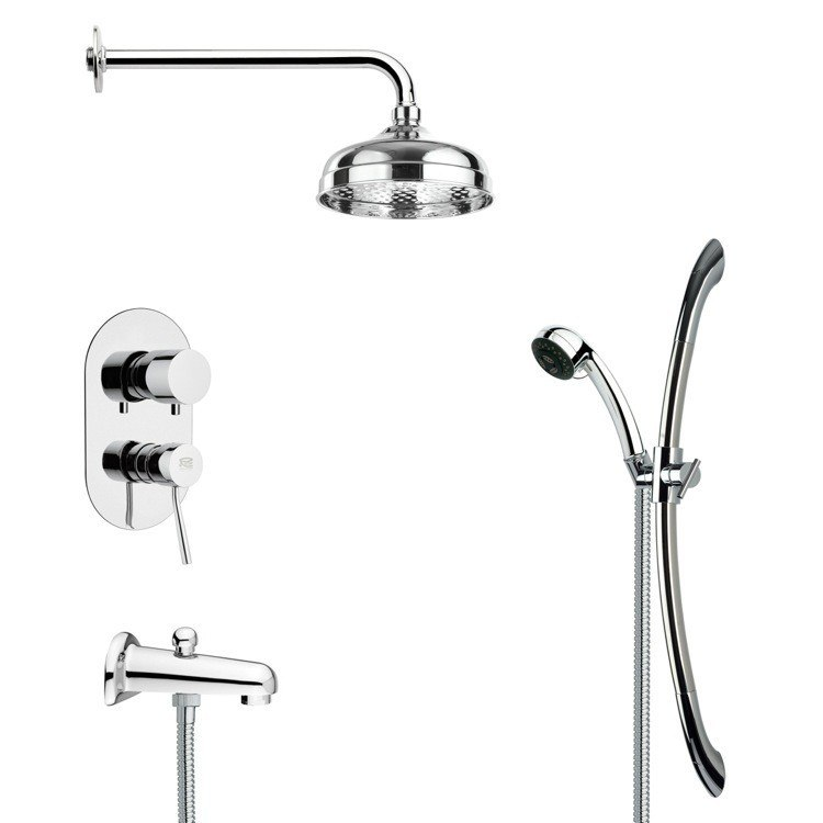 REMER TSR9029 GALIANO MODERN ROUND TUB AND RAIN SHOWER FAUCET SET IN CHROME