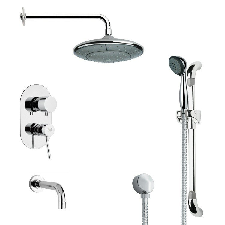 REMER TSR9030 GALIANO MODERN ROUND TUB AND RAIN SHOWER FAUCET SET IN CHROME