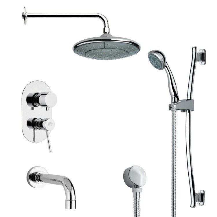 REMER TSR9031 GALIANO MODERN ROUND TUB AND RAIN SHOWER FAUCET SET IN CHROME