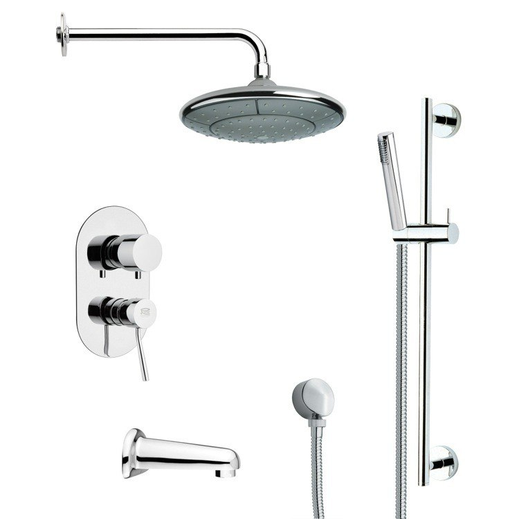 REMER TSR9032 GALIANO MODERN ROUND TUB AND RAIN SHOWER FAUCET WITH SLIDE RAIL IN CHROME