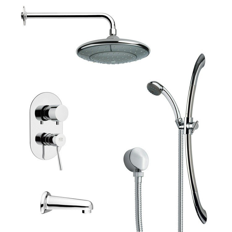 REMER TSR9033 GALIANO MODERN ROUND TUB AND RAIN SHOWER FAUCET WITH SLIDE RAIL IN CHROME