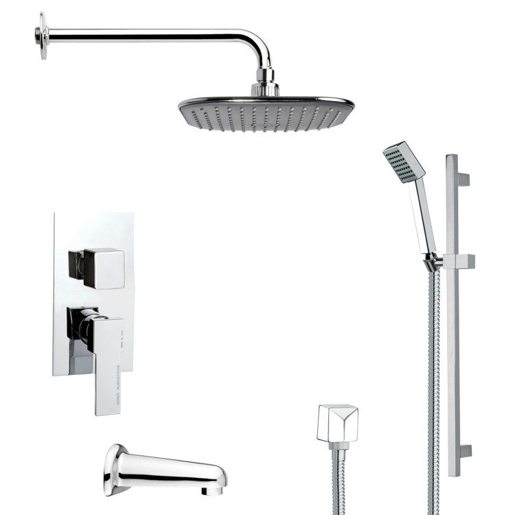REMER TSR9034 GALIANO MODERN SQUARE TUB AND RAIN SHOWER FAUCET SET IN CHROME