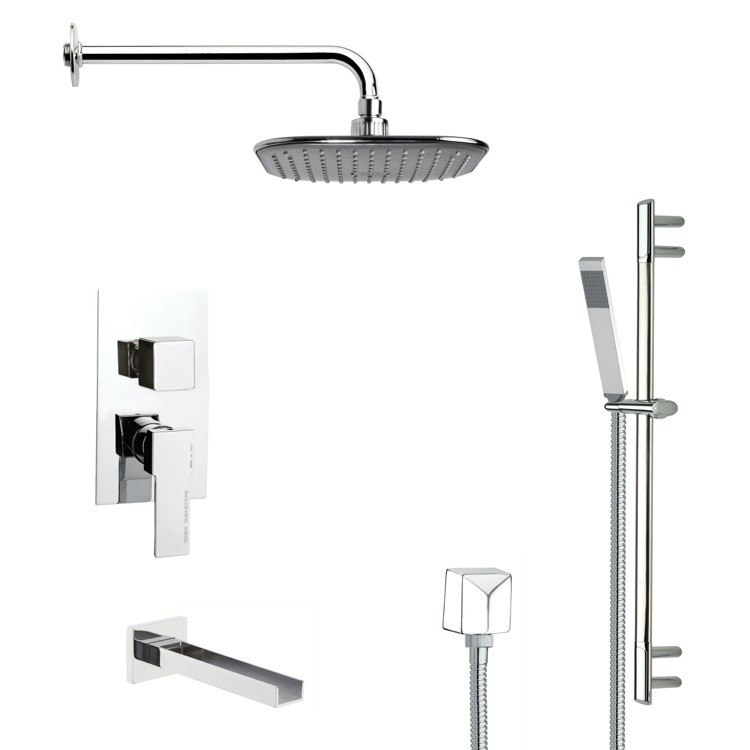 REMER TSR9035 GALIANO MODERN SQUARE TUB AND RAIN SHOWER FAUCET SET IN CHROME