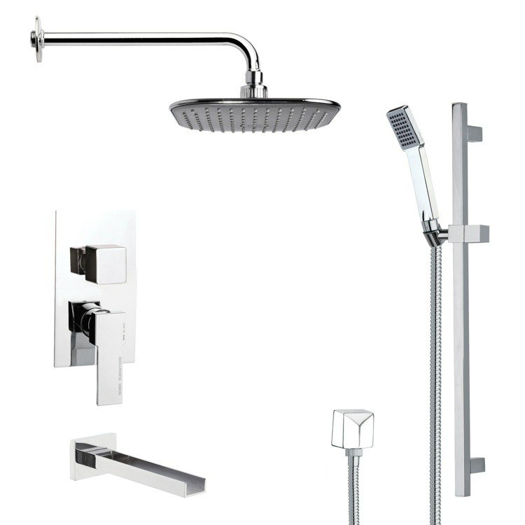 REMER TSR9036 GALIANO MODERN SQUARE TUB AND RAIN SHOWER FAUCET SET IN CHROME