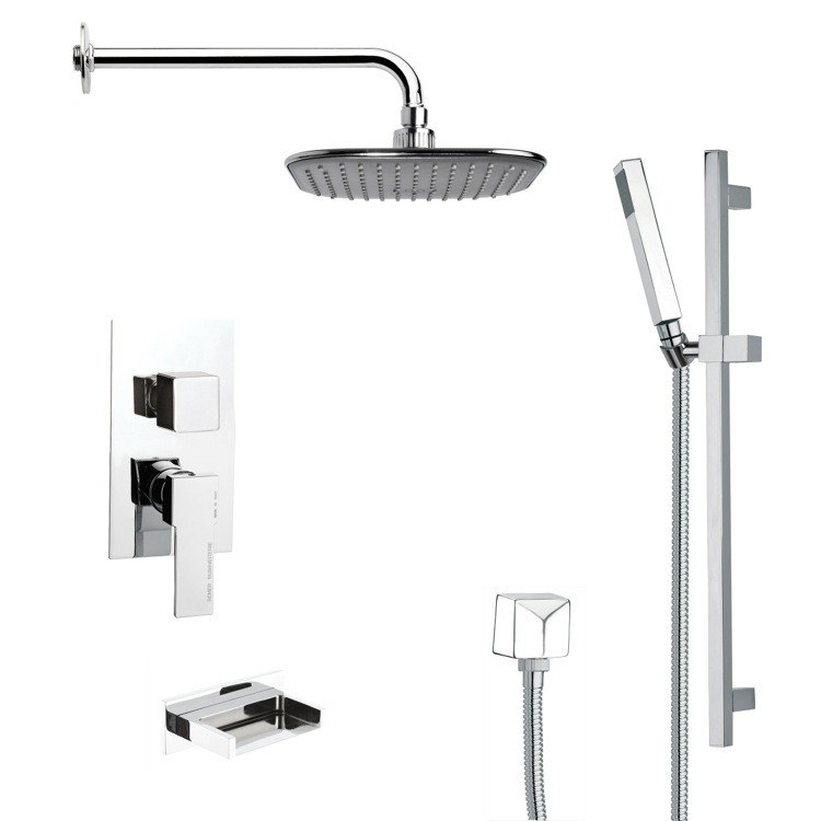REMER TSR9037 GALIANO MODERN SQUARE TUB AND RAIN SHOWER FAUCET SET IN CHROME