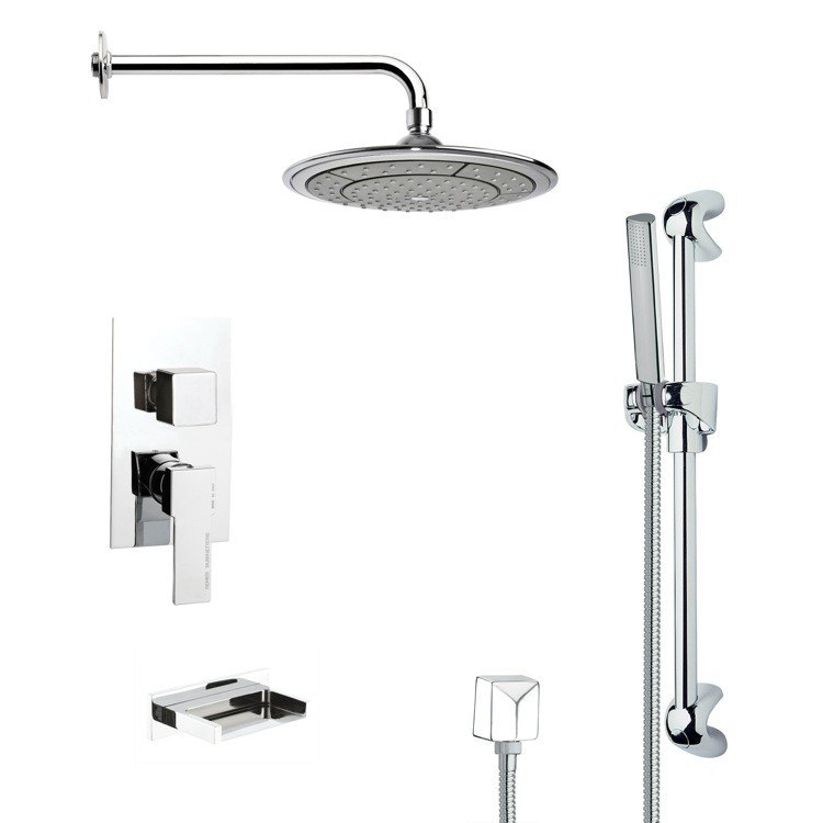 REMER TSR9038 GALIANO MODERN POLISHED CHROME RAIN SHOWER SYSTEM