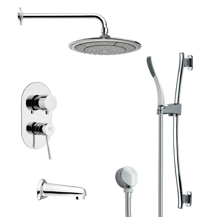 REMER TSR9040 GALIANO MODERN POLISHED CHROME RAIN SHOWER SYSTEM