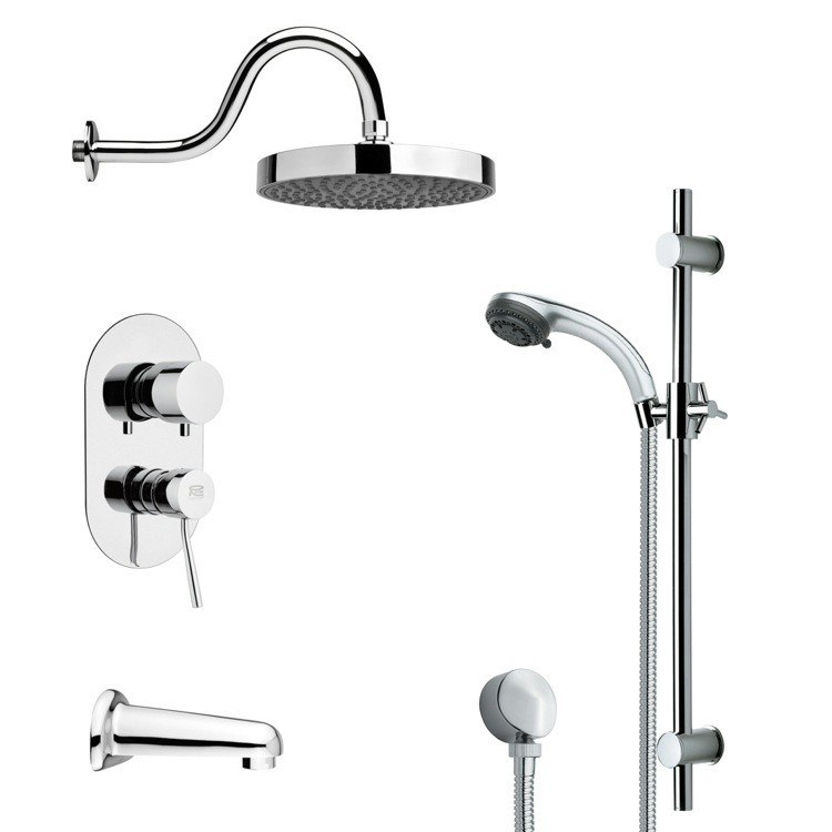 REMER TSR9060 GALIANO SLEEK TUB AND RAIN SHOWER FAUCET SET IN CHROME