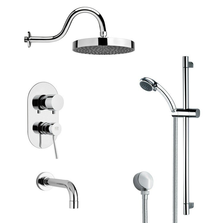 REMER TSR9061 GALIANO SLEEK TUB AND RAIN SHOWER FAUCET SET IN CHROME