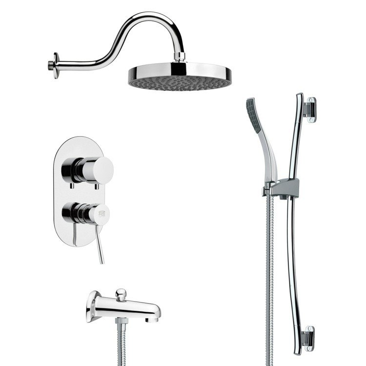 REMER TSR9062 GALIANO SLEEK TUB AND RAIN SHOWER FAUCET SET IN CHROME