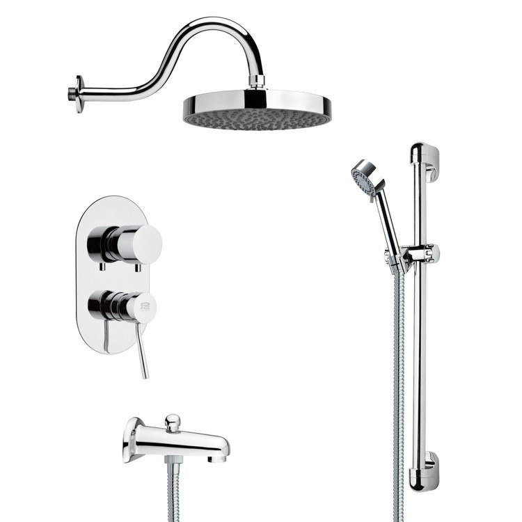 REMER TSR9063 GALIANO SLEEK TUB AND RAIN SHOWER FAUCET SET IN CHROME