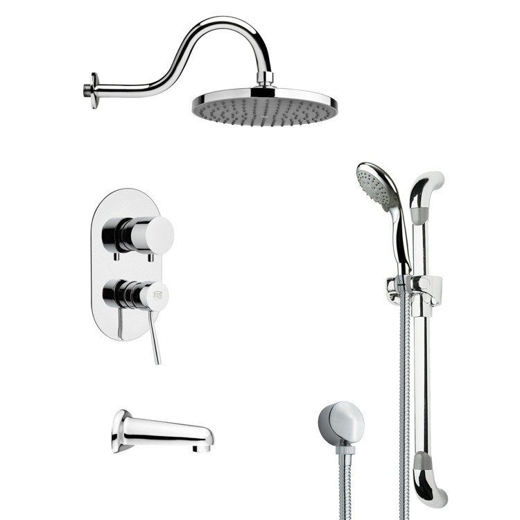 REMER TSR9064 GALIANO SLEEK TUB AND RAIN SHOWER FAUCET WITH SLIDE RAIL IN CHROME