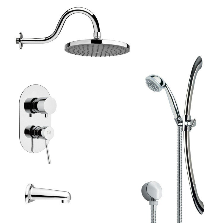 REMER TSR9065 GALIANO SLEEK TUB AND RAIN SHOWER FAUCET WITH SLIDE RAIL IN CHROME