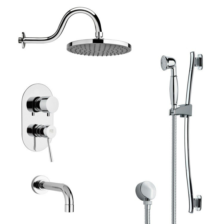 REMER TSR9066 GALIANO SLEEK TUB AND RAIN SHOWER FAUCET WITH SLIDE RAIL IN CHROME