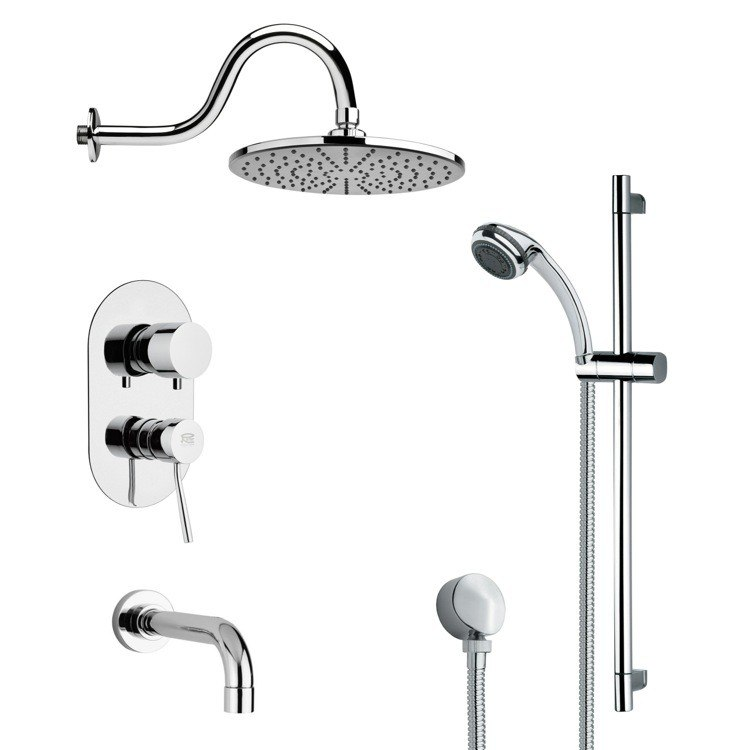 REMER TSR9067 GALIANO SLEEK TUB AND RAIN SHOWER FAUCET WITH SLIDE RAIL IN CHROME