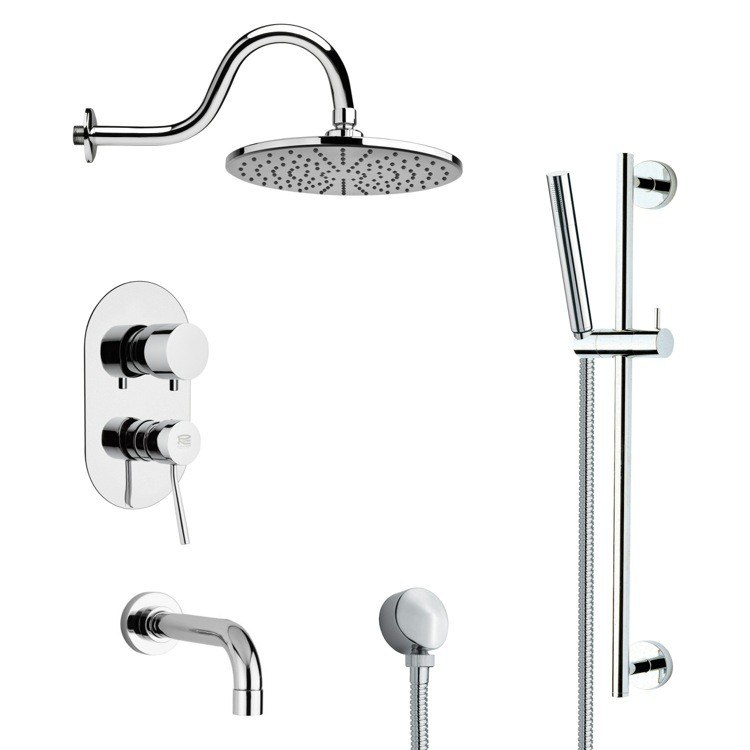 REMER TSR9068 GALIANO SLEEK TUB AND RAIN SHOWER FAUCET WITH SLIDE RAIL IN CHROME
