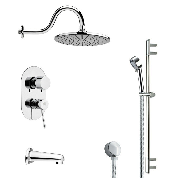 REMER TSR9069 GALIANO SLEEK TUB AND RAIN SHOWER FAUCET WITH HAND SHOWER IN CHROME