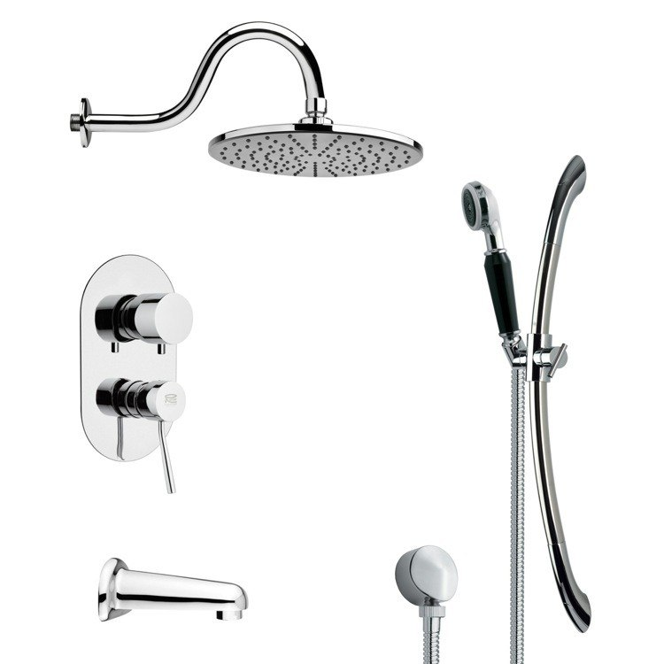 REMER TSR9070 GALIANO SLEEK TUB AND RAIN SHOWER FAUCET WITH HAND SHOWER IN CHROME