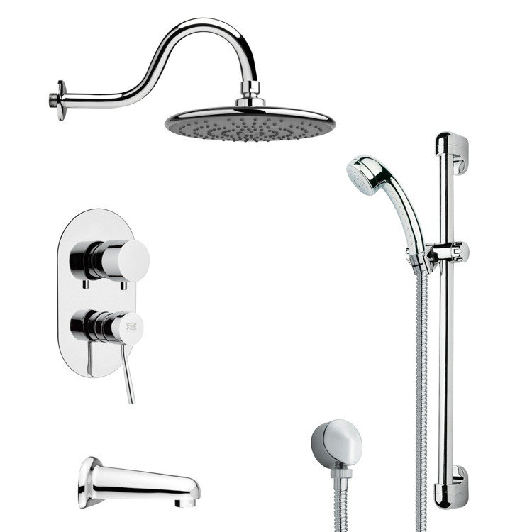 REMER TSR9071 GALIANO SLEEK TUB AND RAIN SHOWER FAUCET WITH HAND SHOWER IN CHROME