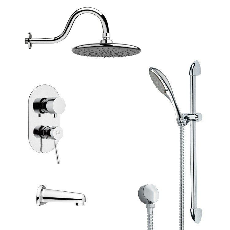 REMER TSR9072 GALIANO SLEEK TUB AND RAIN SHOWER FAUCET WITH HAND SHOWER IN CHROME