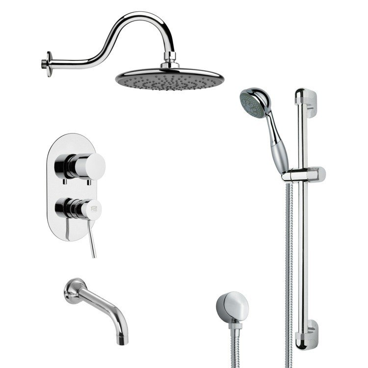 REMER TSR9073 GALIANO SLEEK TUB AND RAIN SHOWER FAUCET WITH HAND SHOWER IN CHROME