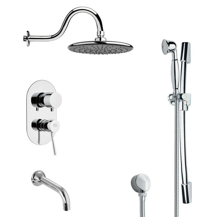 REMER TSR9074 GALIANO SLEEK TUB AND RAIN SHOWER FAUCET WITH HAND SHOWER IN CHROME