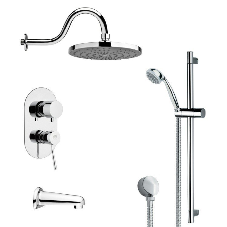 REMER TSR9080 GALIANO CONTEMPORARY CHROME TUB AND RAIN SHOWER FAUCET