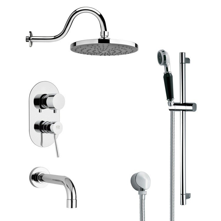 REMER TSR9081 GALIANO CONTEMPORARY CHROME TUB AND RAIN SHOWER FAUCET