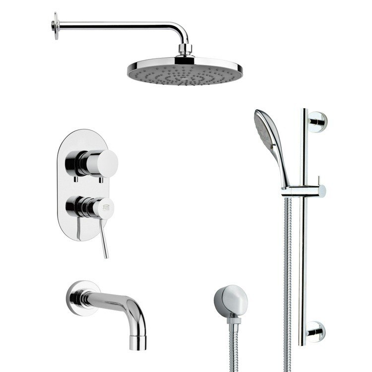 REMER TSR9083 GALIANO CONTEMPORARY CHROME TUB AND RAIN SHOWER FAUCET