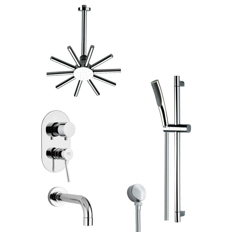 REMER TSR9089 GALIANO CONTEMPORARY CHROME TUB AND SHOWER FAUCET WITH HANDHELD SHOWER