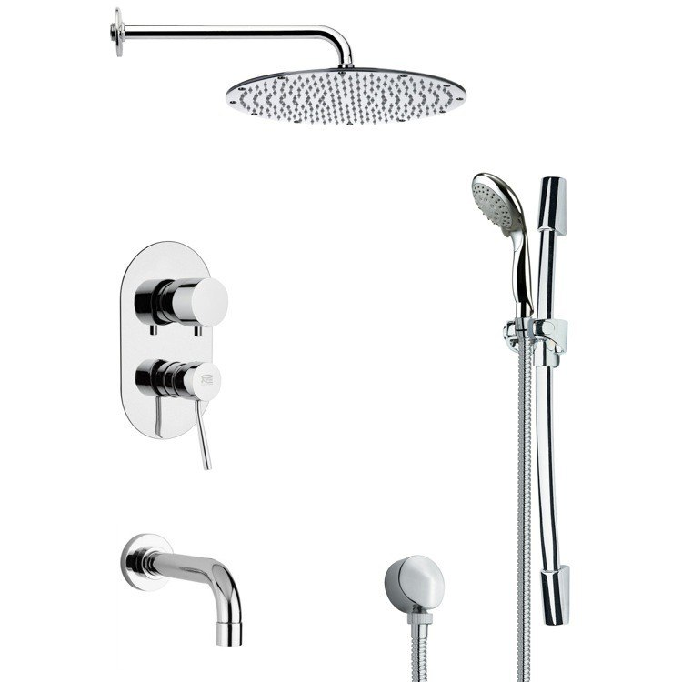 REMER TSR9092 GALIANO CONTEMPORARY CHROME TUB AND SHOWER FAUCET WITH HANDHELD SHOWER