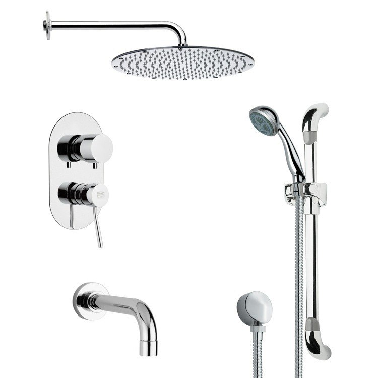 REMER TSR9093 GALIANO CONTEMPORARY CHROME TUB AND SHOWER FAUCET WITH HANDHELD SHOWER