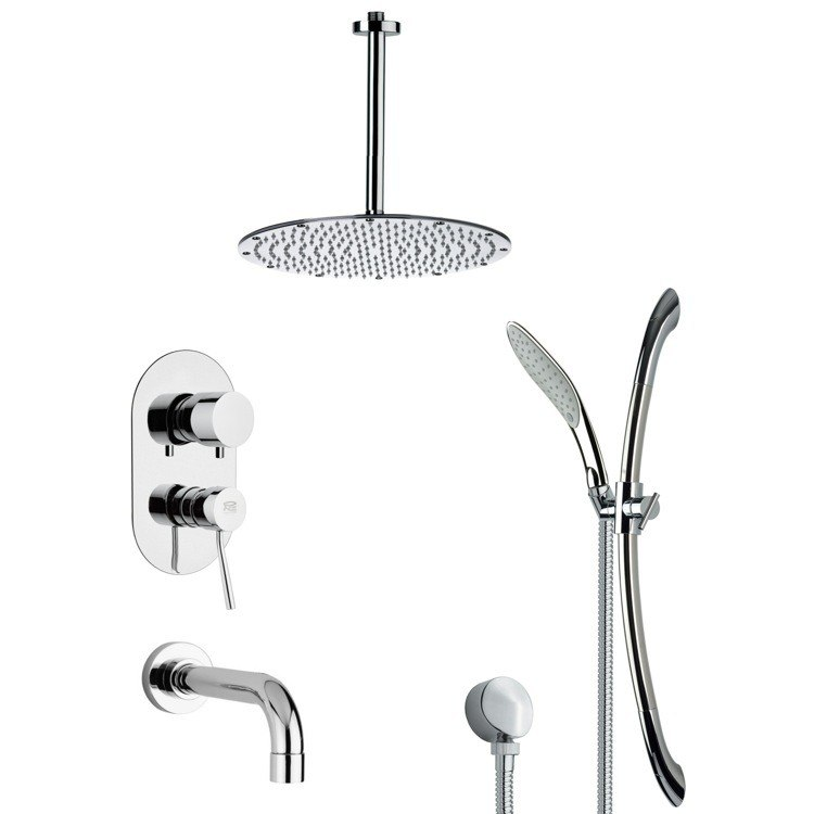 REMER TSR9094 GALIANO CONTEMPORARY CHROME TUB AND SHOWER FAUCET WITH SLIDE RAIL