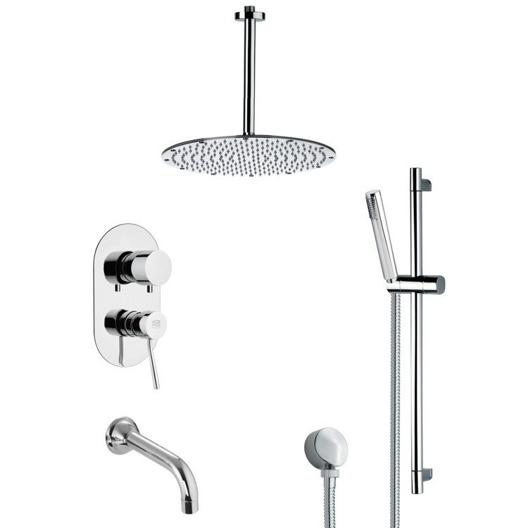 REMER TSR9095 GALIANO CONTEMPORARY CHROME TUB AND SHOWER FAUCET WITH SLIDE RAIL