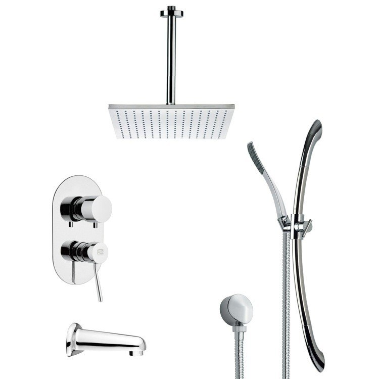 REMER TSR9096 GALIANO CONTEMPORARY CHROME TUB AND SHOWER FAUCET WITH SLIDE RAIL