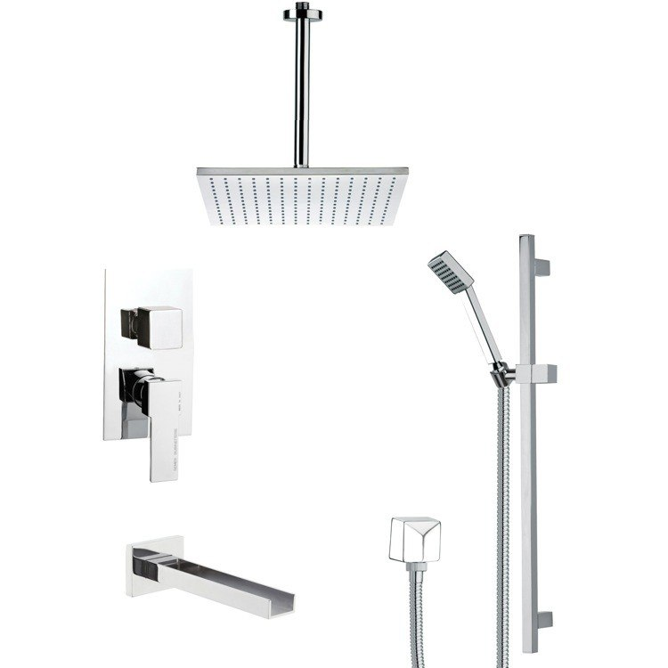 REMER TSR9097 GALIANO CONTEMPORARY CHROME TUB AND SHOWER FAUCET WITH SLIDE RAIL