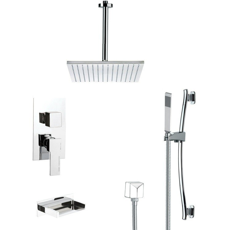 REMER TSR9098 GALIANO CONTEMPORARY CHROME TUB AND SHOWER FAUCET WITH SLIDE RAIL